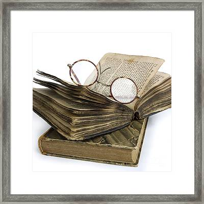 Glasses And Book Framed Print by Bernard Jaubert
