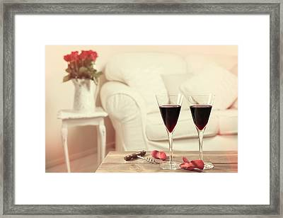 Glasses Of Red Wine Framed Print by Amanda And Christopher Elwell