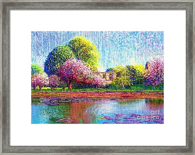 Glastonbury Abbey Lily Pool Framed Print by Jane Small