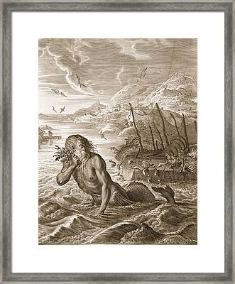 Glaucus Turned Into A Sea-god, 1731 Framed Print by Bernard Picart