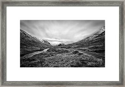 Glen Etive Road And River Framed Print by John Farnan