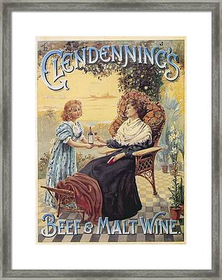 Glendenning's Beef And Malt Wine Ad Framed Print by Gianfranco Weiss