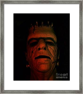 Glenn Strange As Frankenstein Mask Framed Print by Jim Fitzpatrick