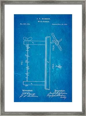 Glidden Barbed Wire Patent Art 1874 Blueprint Framed Print by Ian Monk