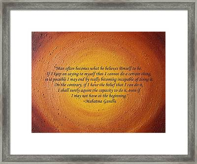 Glimpse Of Sedona With Gandhi Quote Framed Print by Shannon Keavy