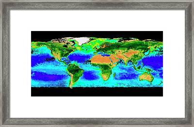 Global Biosphere Framed Print by Nasa/seawifs/geoeye