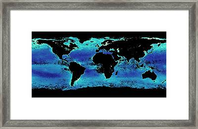 Global Chlorophyll Levels Framed Print by Nasa Earth Observations