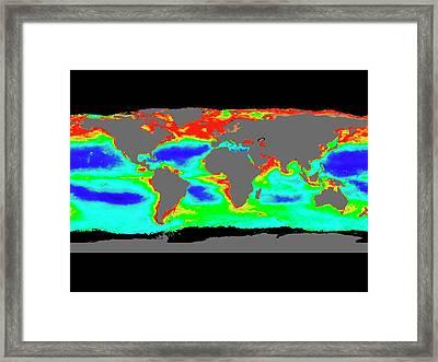 Global Chlorophyll Levels Framed Print by Nasa/gsfc-svs/seawifs/geoeye