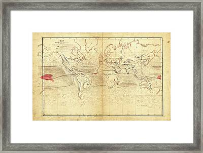 Global Circumnavigation Framed Print by Library Of Congress, Geography And Map Division