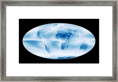 Global Cloud Map Framed Print by Nasa Earth Observatory/modis Atmosphere Science Team,gsfc