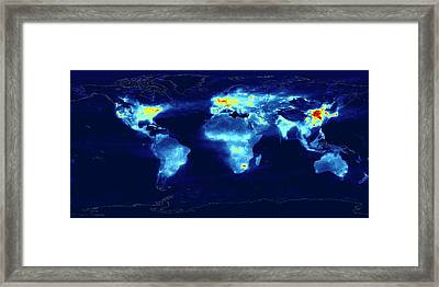 Global Monitoring Of Air Pollution Framed Print by Knmi/european Space Agency