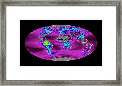 Global Productivity Levels Framed Print by Nasa/modis Science Team