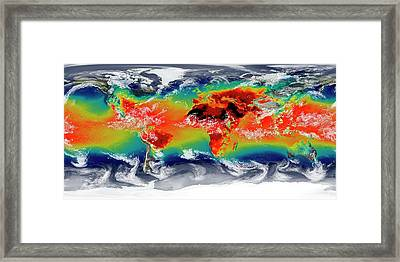 Global Temperatures Framed Print by William Putman/nasa Goddard Space Flight Center