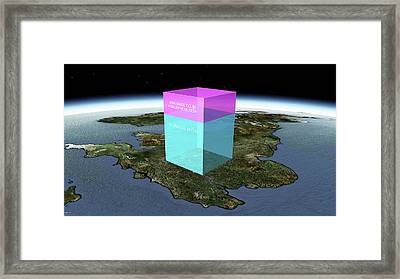 Global Volume Of Man-made Co2 Framed Print by Adam Nieman