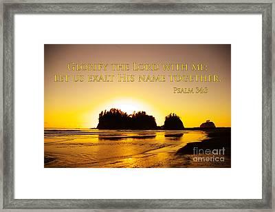 glorify the Lord Framed Print by Dave Walton