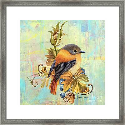 Glorious Birds On Aqua-a2 Framed Print by Jean Plout
