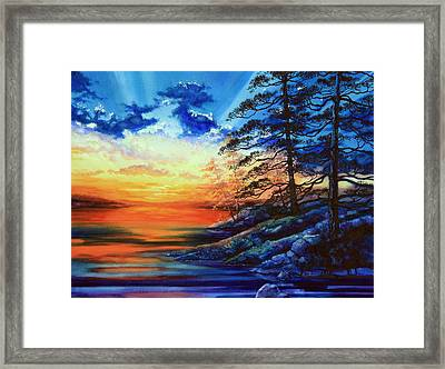 Glorious Lake Sunset Framed Print by Hanne Lore Koehler