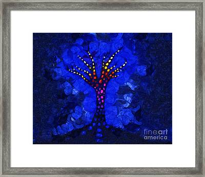 Glow Tree Blue Framed Print by Pixel Chimp