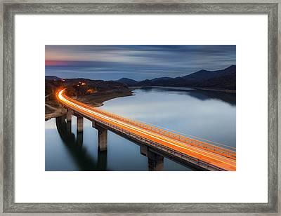 Glowing Bridge Framed Print by Evgeni Dinev