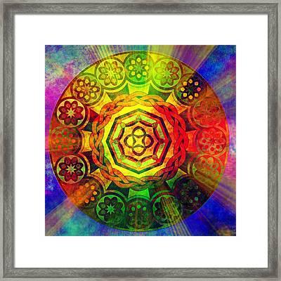 Glowing Mandala Framed Print by Ally  White