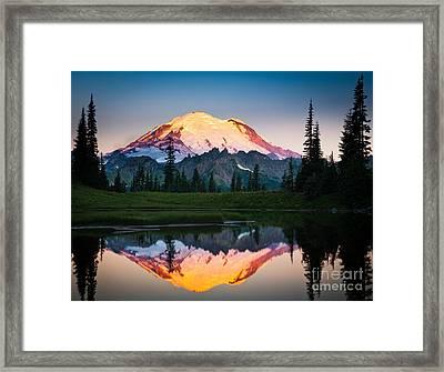 Glowing Peak Framed Print by Inge Johnsson