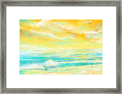 Glowing Waves - Seascapes Sunset Abstract Framed Print by Lourry Legarde