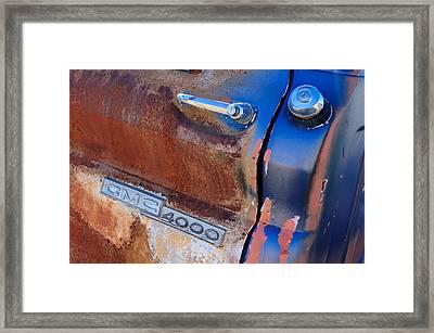 Gmc 4000 V6 Pickup Truck Side Emblem - Door Handle Framed Print by Jill Reger