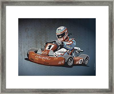 Go-kart Racing Grunge Color Framed Print by Frank Ramspott