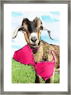 Goat Art - Oh You're Home Framed Print by Sharon Cummings