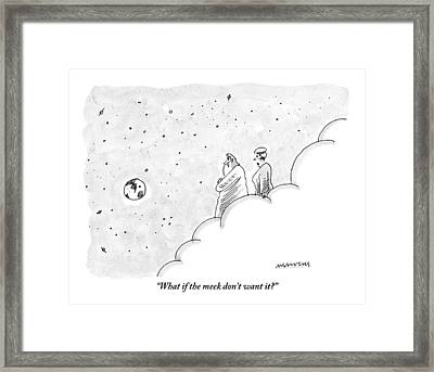 God And An Angel Stand On A Cloud Floating Framed Print by Mick Stevens