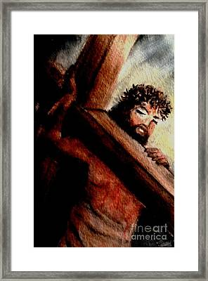God Anticipated The Cross Framed Print by Hazel Holland