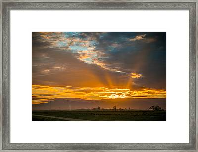 God Beams And Sunrise Framed Print by Connie Cooper-Edwards