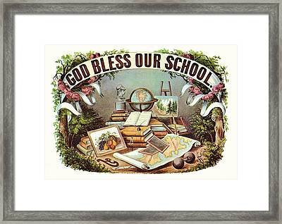 God Bless Our School Framed Print by Currier and Ives