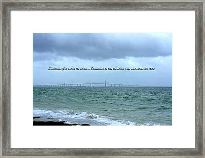 God Calms The Storm Framed Print by Laurie Perry