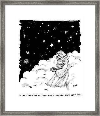God Stands In A Cloud Formation In Space Framed Print by Carolita Johnson
