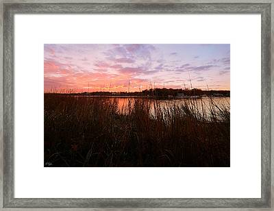 Goddard Sunset Framed Print by Lourry Legarde