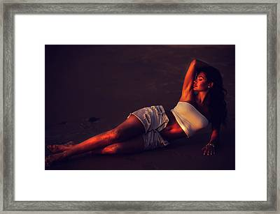 Goddess Of Night. Seduction Series Framed Print by Jenny Rainbow