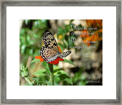 God's Gift Framed Print by Diane E Berry