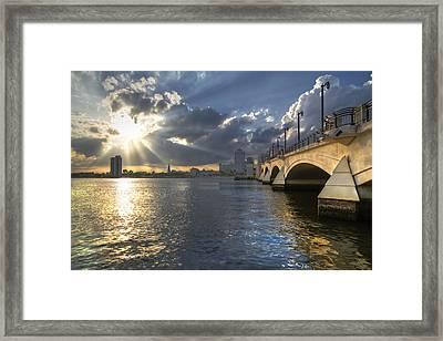 God's Light Over West Palm Beach Framed Print by Debra and Dave Vanderlaan