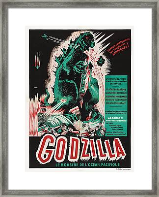 Godzilla, Godzilla On French Poster Framed Print by Everett