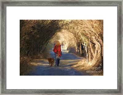 Going For A Walk Framed Print by John  Kolenberg