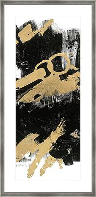 Gold And Blackabstract Panel I Framed Print by Mike Schick