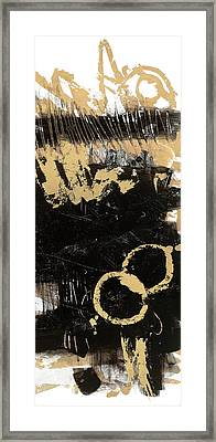 Gold And Blackabstract Panel II Framed Print by Mike Schick