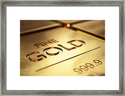 Gold Bars Close-up Framed Print by Johan Swanepoel