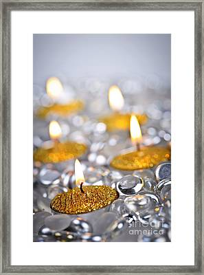 Gold Christmas Candles Framed Print by Elena Elisseeva