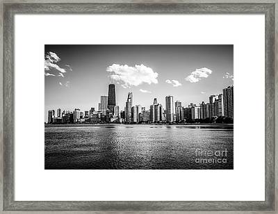 Gold Coast Skyline In Chicago Black And White Picture Framed Print by Paul Velgos