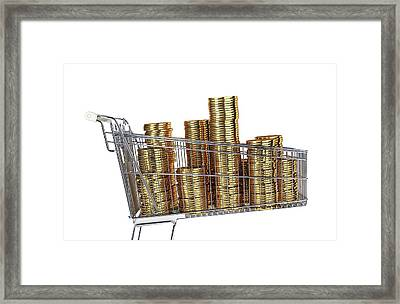 Gold Coins Inside A Supermarket Trolley Framed Print by Leonello Calvetti