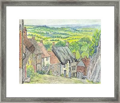 Gold Hill Shaftesbury Dorset England Framed Print by Carol Wisniewski