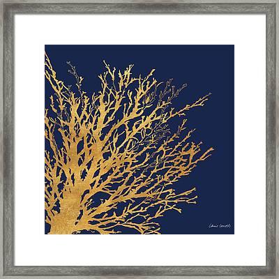 Gold Medley On Navy Framed Print by Lanie Loreth