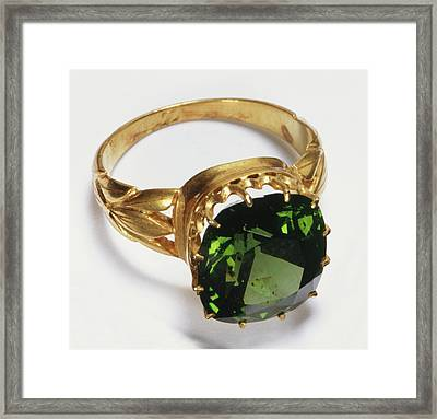 Gold Ring With Inset Green Zircon Stone Framed Print by Dorling Kindersley/uig